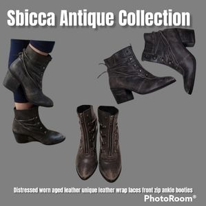 NWOT Sbicca vintage Collection distressed leather front zip  ankle booties 8.5